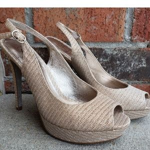 Mettalic Nude Adrianna Papell High Heel Shoes 9M